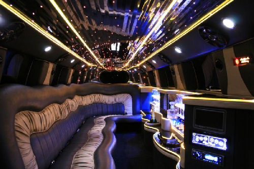 Chauffeur stretch white Hummer limo hire interior in Carlisle, Workington, Penrith, Barrow-in-Furness, Kendal, Whitehaven, Durham, Cumbria