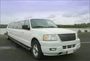 Chauffeur stretch white Jeep Expedition limo hire in UK