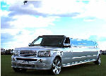 Chauffeur stretch silver Range Rover Sport limo hire in Nottingham, Derby, Leicester, Birmingham Leeds, Bradford, Nottinghamshire, Derbyshire, West Yorkshire, South Yorkshire Midlands.